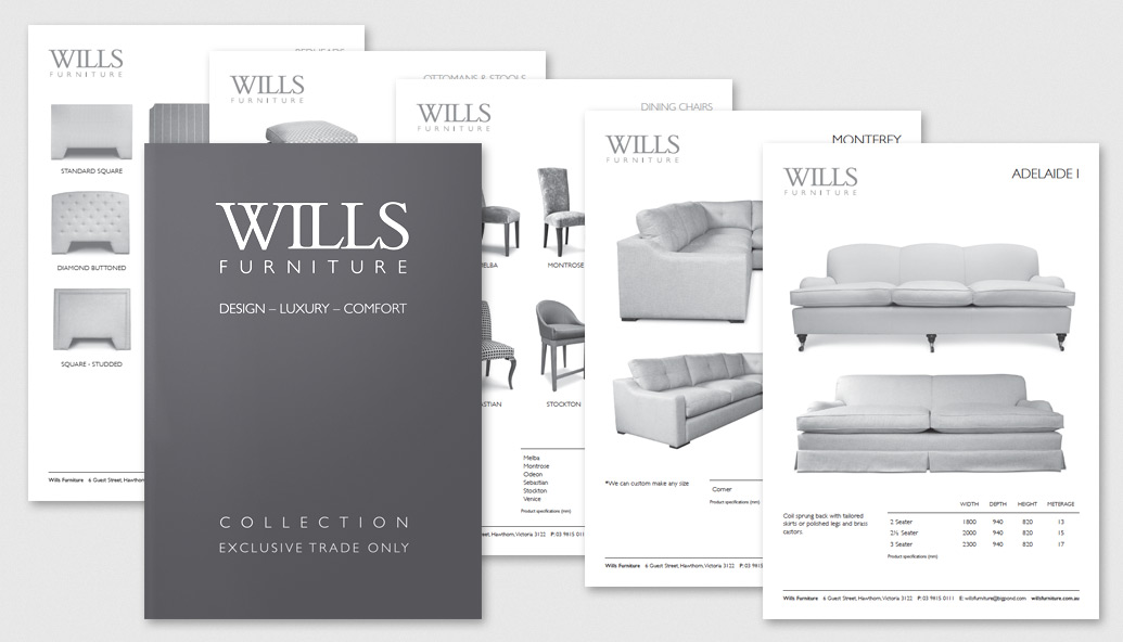 20 page Catalogue design for Wills Furniture. Folio   The Marketing and Branding Company